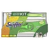 Swiffer Kit con 1 Scopa + 8 Panni per Pavimenti e 1 Piumino + 1 Ricambio, Ottimo per Peli di Animali