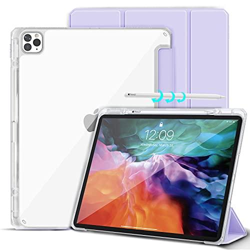 Gahwa Custodia per iPad Pro 12.9   2018 2020, Ultra Sottile Retro Trasparente Cover con Portapenne Supporto a Tri-Fold, Automatica Case in Svegliati Sonno Protezione Completa - Viola