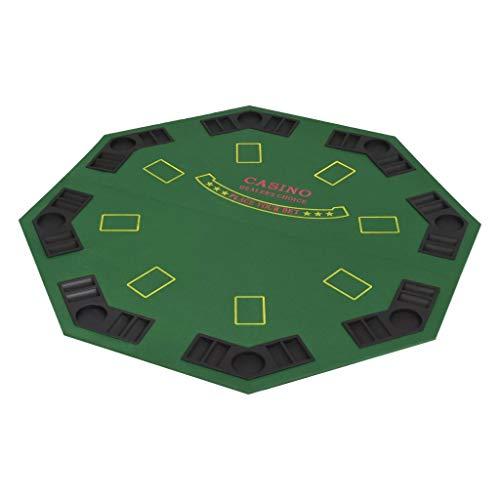 Festnight 8-Spieler Poker Tischauflage 2-Fach Faltbar Casino-Tischauflage Poker Spielen Achteckig 120 x 120 cm Grün