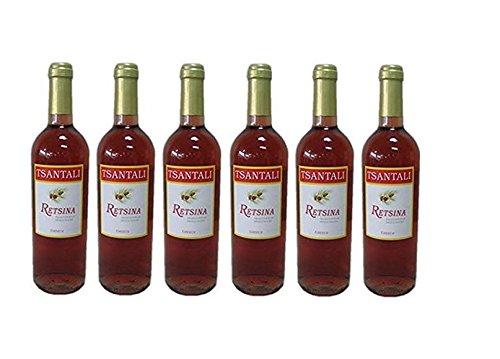 6x Retsina Rose je 750ml 12,5% geharzter Roséwein Rosé Wein Griechenland trocken + 2 Probier Sachet Olivenöl aus Kreta a 10 ml