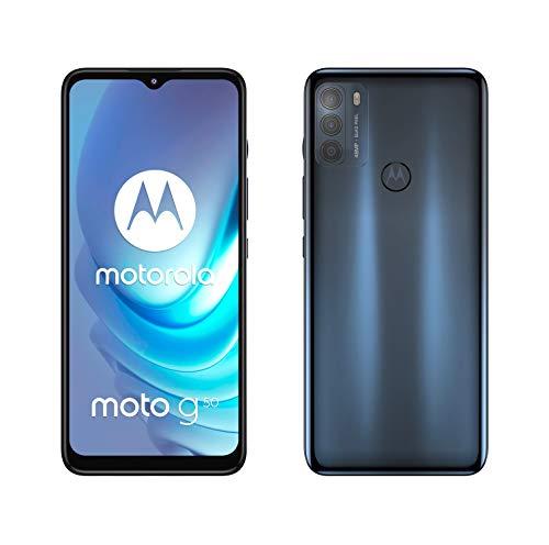 Motorola Moto g50 (Pantalla de 6.5' Max Vision HD+, Qualcomm Snapdragon 480 2.0 GHz octa-core, cámara triple de 48MP, batería de 5000 mAH, Dual SIM, 4/128GB, Android 11), Gris [Versión ES/PT]
