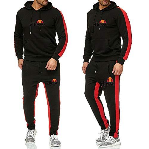 Ellesse Herren Hoodie Sport Kapuzenpullover Jogging Anzug+ Lange Hose Hip Hop Hoodies Classic Logo Hooded Sweatshirt Cotton Pullover Sportanzug,Schwarz,L