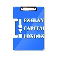 イギリス首都ロンドン フラットヘッドフォルダーライティングパッドテストA4