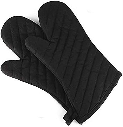 RENFEIYUAN Ofen Handschuhe, Wärme Resista Kochen Handschuhe, Antiskid Küche Handschuhe, Dicker und länger, Baumwolle Topflappen 2er-Pack, Schwarz Handschuhe backofen