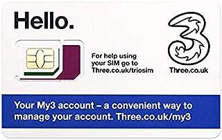 【ヨーロッパ】Threeデータ通話、プリペイドSIMカードプリペイドSIM【イギリス含む42ヶ国対応】 (3GB 300分現地通話 30日間)
