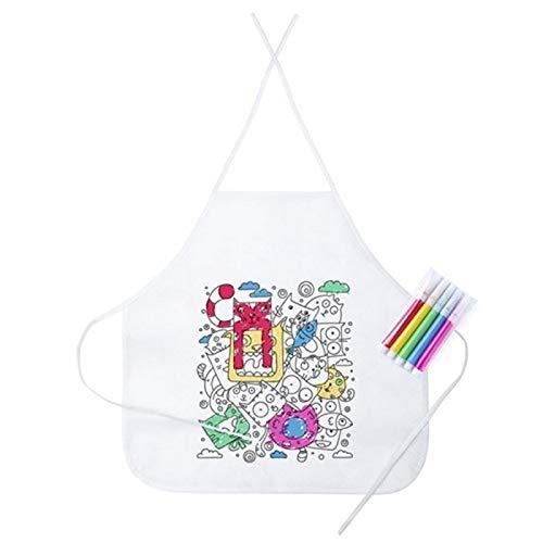 DISOK - Delantal para Colorear - Labores, Manualidades, Handmade, Kraft, Niños Infantiles, Guarderías, Colegios. Regalos para Cumpleaños Originales