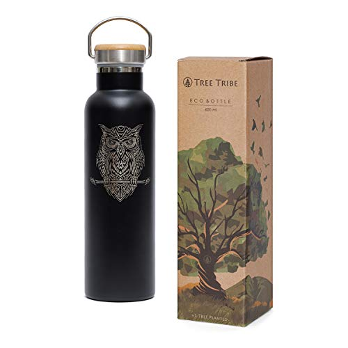 Tree Tribe Black Night Owl Water Bottle 20 oz - Stainless Steel, Indestructible, BPA Free, 100% Leak Proof, Double Wall Insulated for Hot and Cold, Wide Mouth
