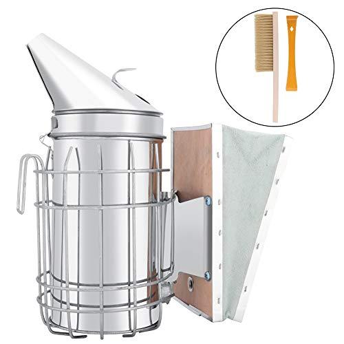 TOPINCN Bee Smoker Edelstahl Handbuch Bee Hive Smoker Imkerei Bienenzucht Tool Kit Set mit Hitzeschild Schutz MEHRWEG VERPACKUNG