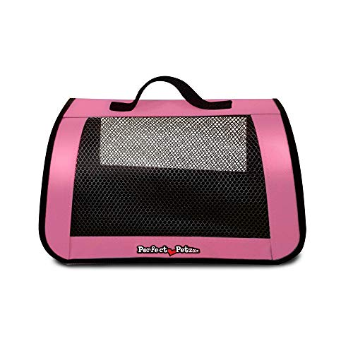 Tote for Lifelike Stuffed Interactive Pet Dogs and Cats, Nylon and Mesh Toy Carrier for Pet Animals, Zippered Carrying Case Accessory  Perfect Petzzz (Pink)