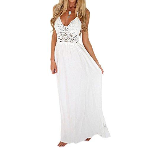 AMUSTER Damen Sommerkleider Frauen Strand Häkeln Rückenfrei Bohemian Neckholder Abend Party Maxi Langes Kleid Sommerröcke Strandröcke Weiß (XL, Weiß)