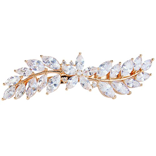 EVER FAITH Women's CZ Marquise-Shaped Hibiscus Flower Leaf Hair Barrette Clip Clear Gold-Tone