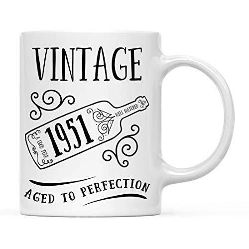 N\A Regalo de Taza de café de hito de cumpleaños, Vintage 1951, gráfico de Botella de Vino, 1 Paquete, 68, 69, 70 Ideas de Regalo de cumpleaños para él o su mamá