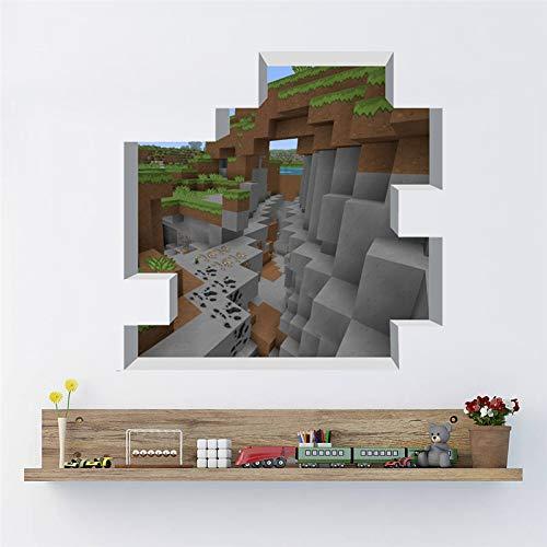 Beliebte spiel minecraft wandkunst aufkleber für kinderzimmer dekoration diy 3d fenster gebrochen loch wandbild aufkleber pvc poster 55x55 cm