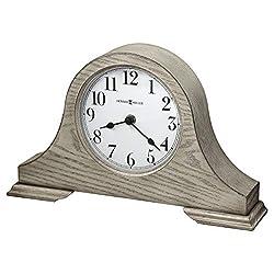 Howard Miller Emma Mantel Clock 635-213 – Warm Gray Finish, Crisp White Dial, Convex Glass Crystal, Tambour Style, Vintage Home Décor, Quartz Movement