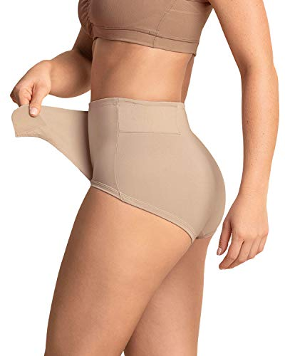 Leonisa Postpartum Underwear for Women with Adjustable Postpartum Belly Band and High Waist Girdle Panty - Ideal for C-Section and Natural Birth Recovery Beige