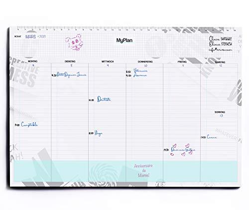 Planning Hebdomadaire de Table - Calendrier Perpetuel A4 détachable - Todo List Agenda des Rendez-vous