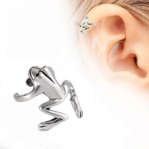 LuckyFine Fashion Punk Silver Ear Cuff Alloy Jumping Frog Ear Clip Cuff Earring