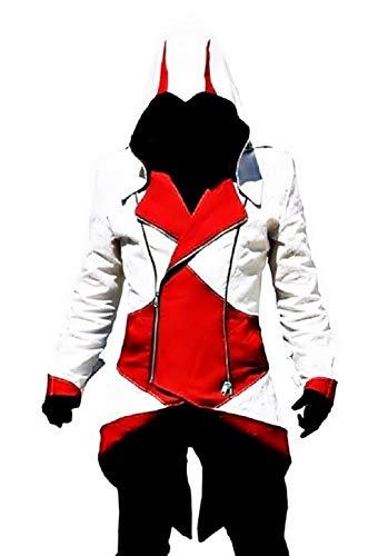 KIRALOVE Jacke des Assassins Creed - Cosplay - verkleidung - Halloween - Karneval - Cosplay - Mann - weiß und rot größe m Cosplay