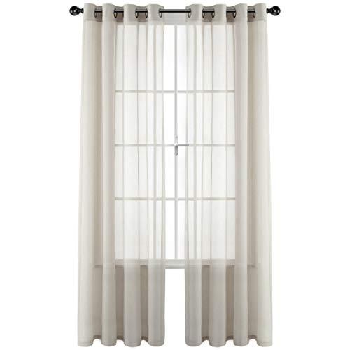 GoodGram 2 Pack Ultra Luxurious High Woven Elegant Sheer Grommet Curtain Panels - Assorted Colors (Ivory)