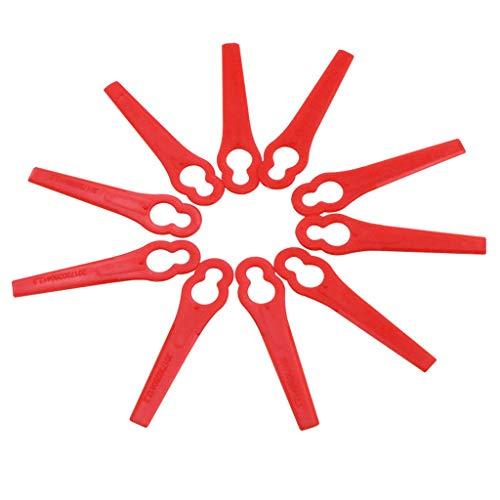 10PCS Kunststoffmesser Freischneider Elektrosense Ersatzmesser Kunststoff Ersatz Messer Klingen Wechsel Schneid fuer Akku Rasentrimmer Trimmer Rasentrimmer-Klingen (Rot)