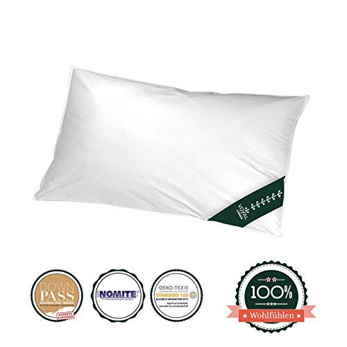 VOYAL LINNEN Wiener Wolkenpolster [40 x 80cm] – Premium Federkisse – Atmungsaktiv & Zertifiziert – Für Allergiker geeignet – Made in Germany