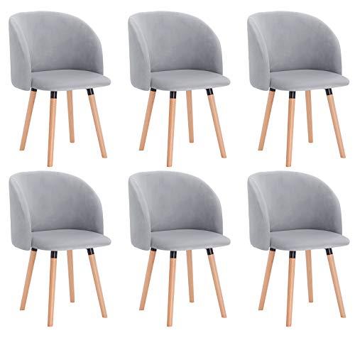 WOLTU 6 x Esszimmerstühle 6er Set Esszimmerstuhl Küchenstuhl Polsterstuhl Design Stuhl mit Armlehne, mit Sitzfläche aus Samt, Gestell aus Massivholz, Grau, BH121gr-6