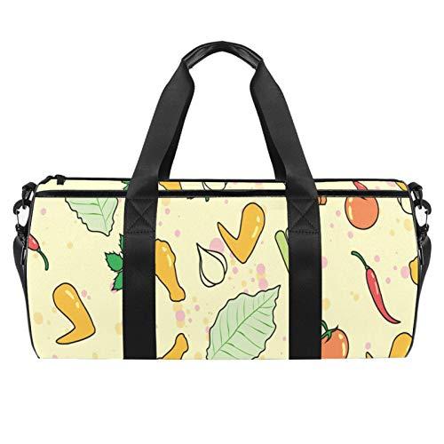 Bolsas de viaje para la playa, grandes deportes para gimnasio durante la noche, alas de búfalo, verduras, tomate, bolsa de hombro con bolsillo seco y húmedo