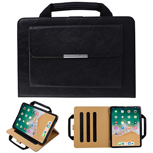 TechCode iPad Pro 12.9 Cases 2020, Portable iPad Handbag Wallet Carrying Case PU Leather Magnetic Flip Stand Cover with Handle Pocket Sleeve for iPad Pro 12.9 3rd/ 4th Gen (SW-Black)