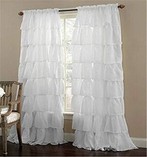 Sarah Duke - Tenda da finestra in voile con volant, motivo zingaro, stile shabby chic, tinta unita, Lino, bianco, 140 x 260 cm