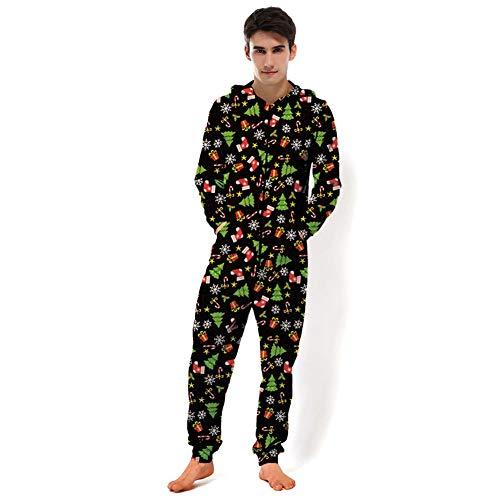 MXX Hooded Jumpsuit, Unisex Kerst Thema 3D Grafische Bedrukte Grappige Pullover Hoodie Sweatshirt voor Volwassene, Paar Onesie Pajamas, Sportswear, Bovenkleding