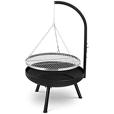 Swivel grill,grill with fire bowl (diameter 70 x height 39 cm), cooking grate (diameter 64.5 cm) and chain, 4 levels of height adjustment for cooking grate, tripod charcoal grill for garden yard by spaire