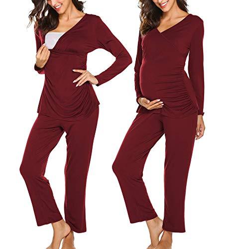 Ekouaer Maternity Nursing Pajama Sets Labor/Delivery/Nursing Maternity Pajamas Set for Breastfeeding Fleece Maternity PJs Wine Red