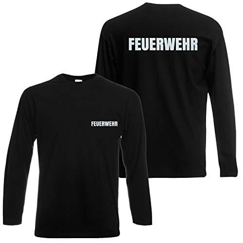 Shirt-Panda Feuerwehr Langarmshirt Herren Unisex - Reflektierender beidseitiger Aufdruck Brust & Rücken - viele Schwarz (Druck Silber) XL