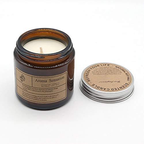 Luccase Duftkerzen 6x6,5cm Glas Sojawachs Duftkerzen mit Baumwolle Kerzenständerkern 20h Brenndauer Kerzen Geschenkset Natürliche Aromatherapie Kerzen (F)
