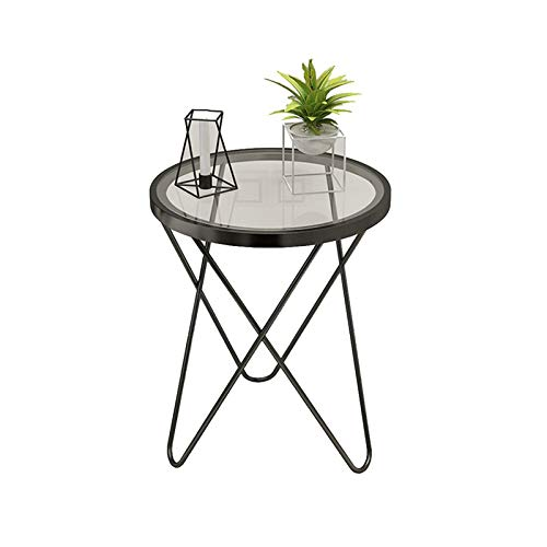Northern Europe Round Table, Creativity Decoration Coffee Tables Balcony Patio End Tables Store Restaurant Side Table(Size:47 * 47 * 62CM,Color:Black)