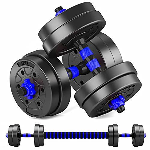 MOJEER ダンベル 可変式【最新進化版・3in1】10kg 20kg 30kg 40kg 2個セット バーベルにもなる ダンベル 無臭素材 静音FL (5kg×2個セット/ blue)