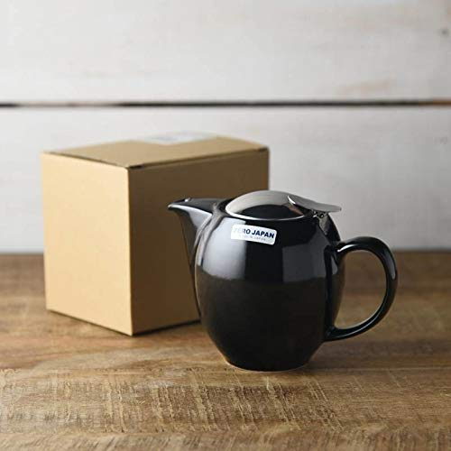 Yamani 72190080 Mino-yaki Japanische Keramik Teekanne Kyusu 350cc mit Edelstahlsieb Zero Japan Serie schwarz