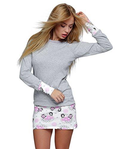 SENSIS edles und hochwertiges Baumwoll-Nachthemd Sleepshirt - Made in EU (XL (42), Happy Winter)