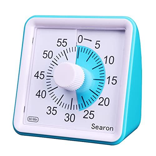 7,8 cm Silent Visual Timer Kids 60 Minuten Countdown Clock Optional Alarm (3S/60S) Loud/Low Soud for Kids Teacher Classroom Meeting Kids Kinder Gold Erwachsene mit Special Need (Blue Color)