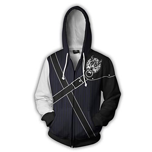 Synona Final Fantasy 7 Kapuzenpullover Zip-Up Unisex Cloud Strife Cosplay Costume Hoodie Jacke Hooded Sweatshirt Pullover Lange Ärmel Casual Tops Herren Damen Harajuku-Stil