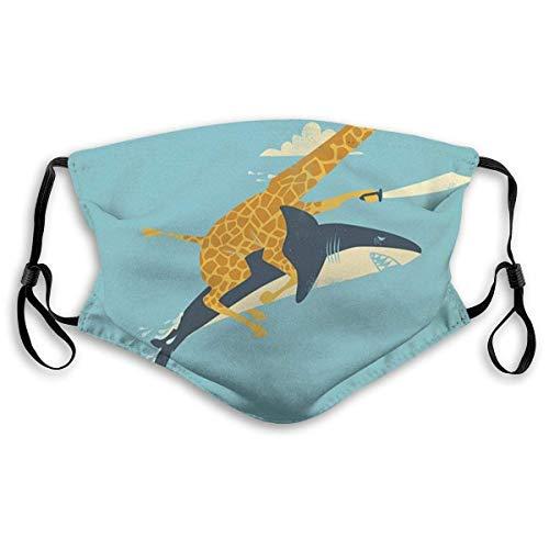 Gesichtsbedeckung aus PET-Faser, waschbar, atmungsaktiv, wiederverwendbar, Giraffe, reitender Hai, lustiger Staub-Gesichtsschutz für Erwachsene, Herren und Damen, mit Filter