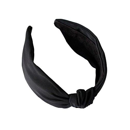 VIccoo Cerceau de Cheveux, Womens Casual Large Bandeaux Head Hoop Solid Hair Band Bow Knot Retro Fashion - Noir