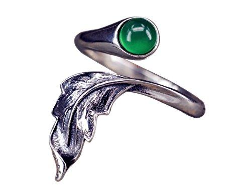 NicoWerk Silberring Feder Vintage Chalcedon Mit stein Grün Ethno Ring Silber 925 Verstellbar Damenringe Damen Schmuck Sterling SRI264