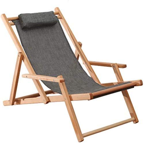 WDHWD - Sillón reclinable para exterior, reclinable, plegable, para exteriores, tumbona de playa, silla reclinable con balancín, con cojín