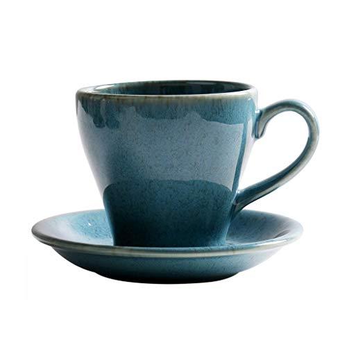 Koffie Beker en schotel Set Keramische Theekop Bloem Beker, Retro Europese Theekop met Schotel en Lepel, Beker Muur Verdikking Anti-scalding Ontwerp Rook Patroon Porselein Espresso Cup