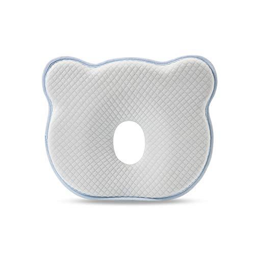 SONARIN Almohada para Bebe plagiocefalia,prevenir-curar la Cabeza Plana in Memory Foam Prevención de cabeza plana Almohada suave para niños pequeños, para bebés de 0 a 12 meses(Azul)