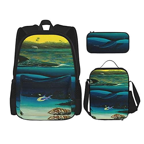 Mochila escolar de aguas tropicales cálidas de 3 piezas, bolsa escolar + estuche + bolsa de almuerzo combinación 3D, lona viaje camping mochila juvenil