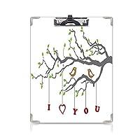 クリップボード A4 I Love You かわいい画板 Love Birds on a Tree Branch Romance Spring Inspiration Artwork Print Decorative A4 タテ型 クリップファイル ワードパッド ファイルバインダー 携帯便利Grey Red Fern Green