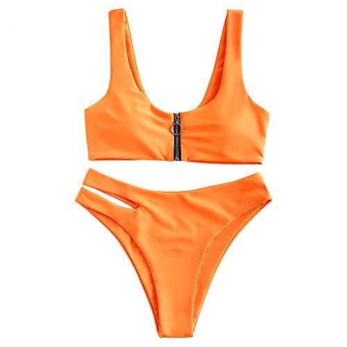 ZAFUL Damen Zweiteilig Bikini-Set, Verstellbarem BH & Reißverschluss Design, Triangle Aushöhlen Badehose (Orange, M)
