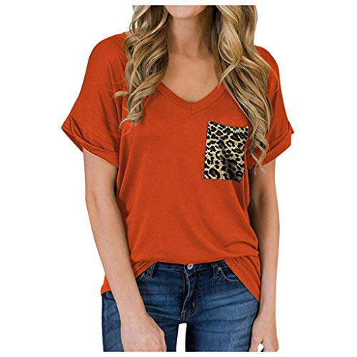 Epigeon Fashion Womens V-Neck Leopard T-Shirts, Fashion Womens Casual Ruffled Loose Solid Color Blouse T-Shirts with Printed Pocket Short Sleeve V-Neck Shirts Leopard Print Loose Casual Tee Orange